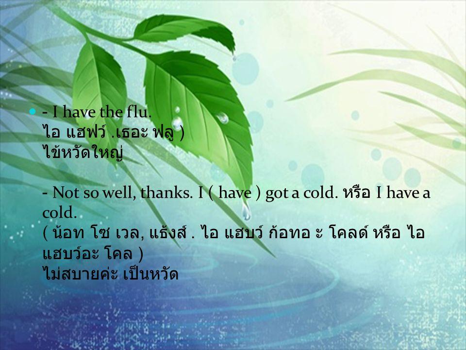 - I have the flu. ไอ แฮฟว์ .เธอะ ฟลู ) ไข้หวัดใหญ่ - Not so well, thanks.