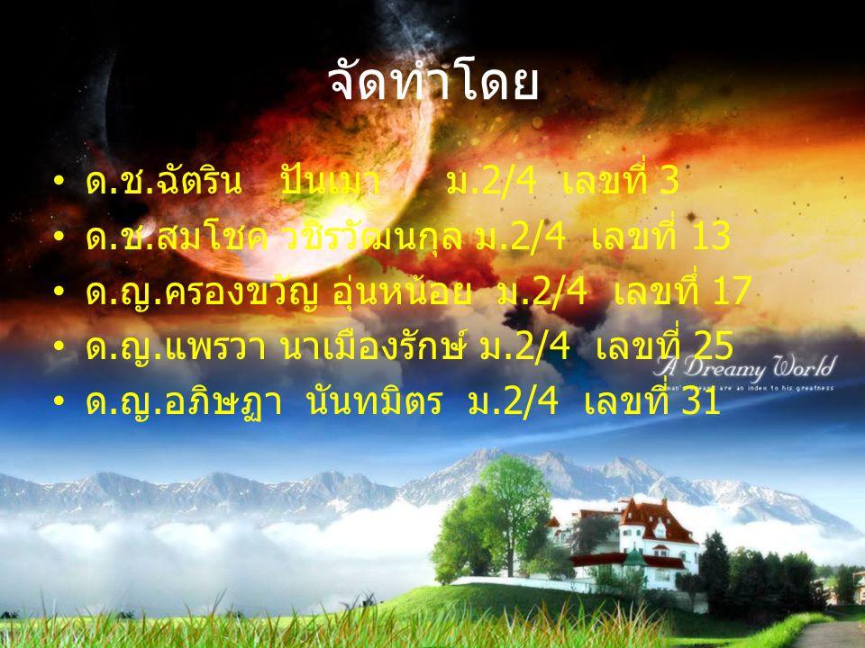 จัดทำโดย ด.ช.ฉัตริน ปันเมา ม.2/4 เลขที่ 3