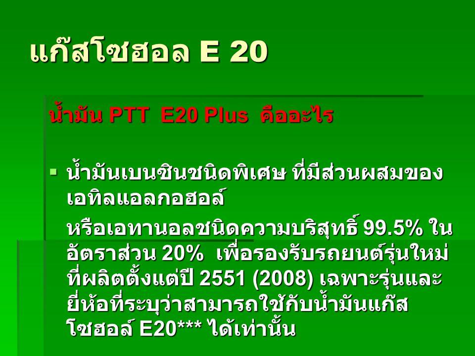 แก๊สโซฮอล E 20 น้ำมัน PTT E20 Plus คืออะไร