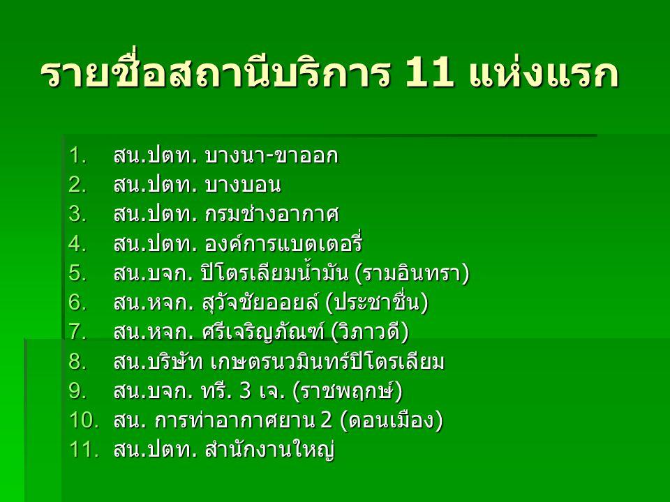 รายชื่อสถานีบริการ 11 แห่งแรก