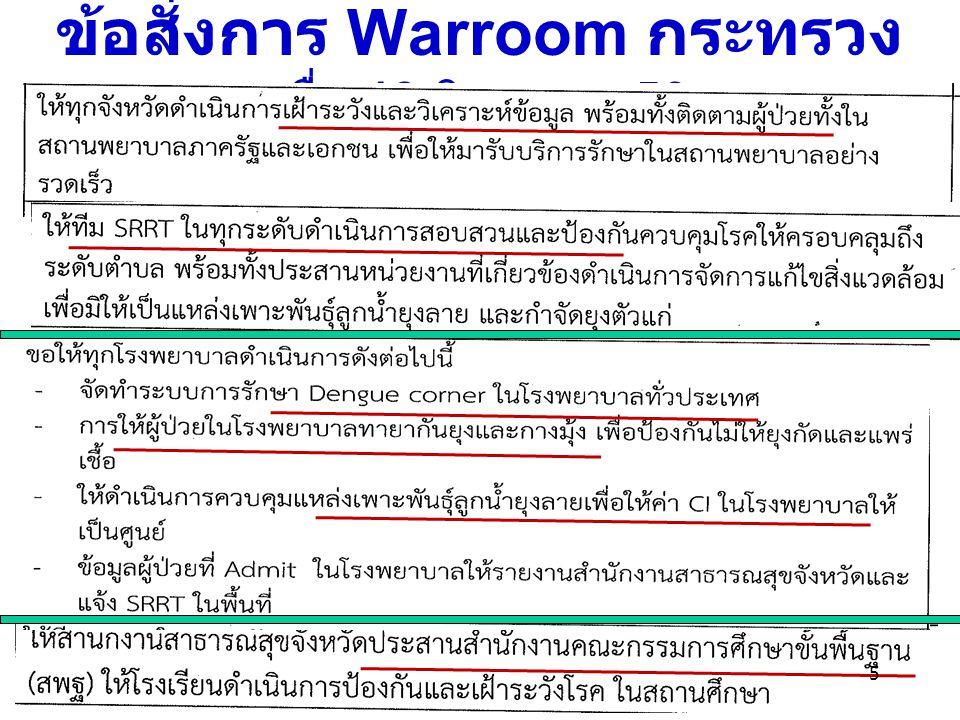 ข้อสั่งการ Warroom กระทรวง เมื่อ 13 มิถุนายน 56
