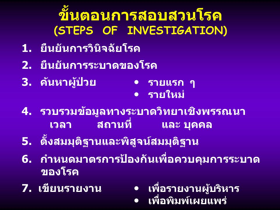 ขั้นตอนการสอบสวนโรค (STEPS OF INVESTIGATION)