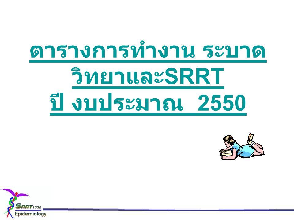 ตารางการทำงาน ระบาดวิทยาและSRRT ปี งบประมาณ 2550