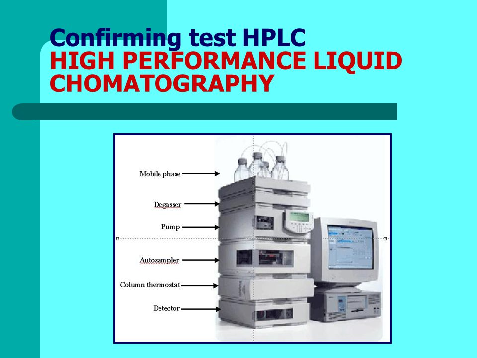 Confirming test HPLC HIGH PERFORMANCE LIQUID CHOMATOGRAPHY
