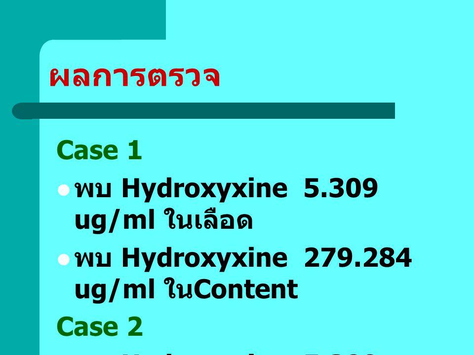 ผลการตรวจ Case 1 พบ Hydroxyxine 5.309 ug/ml ในเลือด