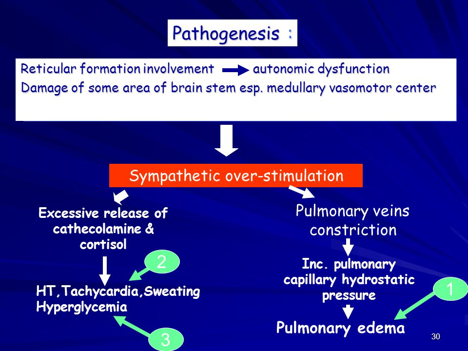 Pathogenesis : 2 1 3 Sympathetic over-stimulation