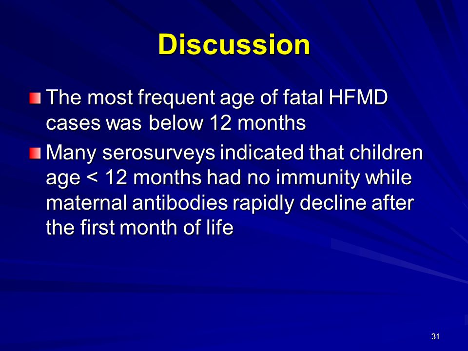 Discussion The most frequent age of fatal HFMD cases was below 12 months.