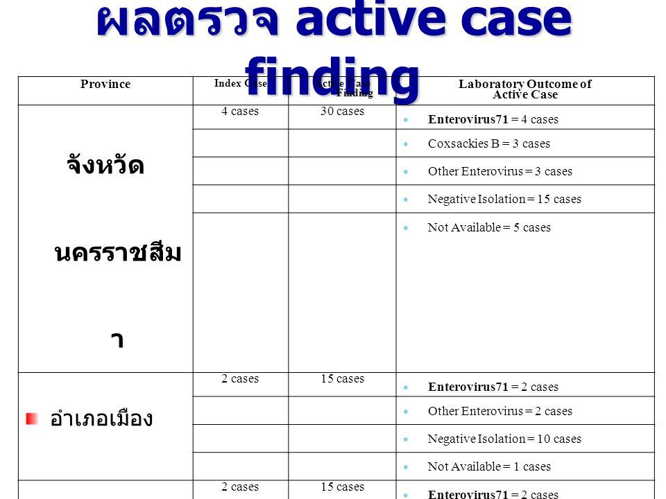 ผลตรวจ active case finding