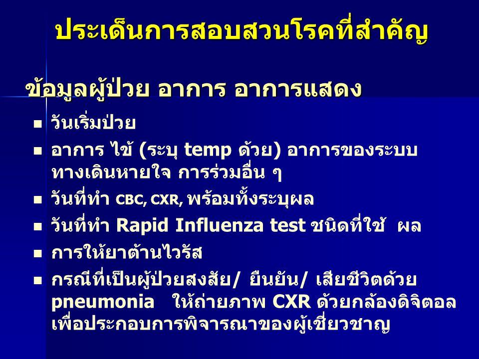 ประเด็นการสอบสวนโรคที่สำคัญ