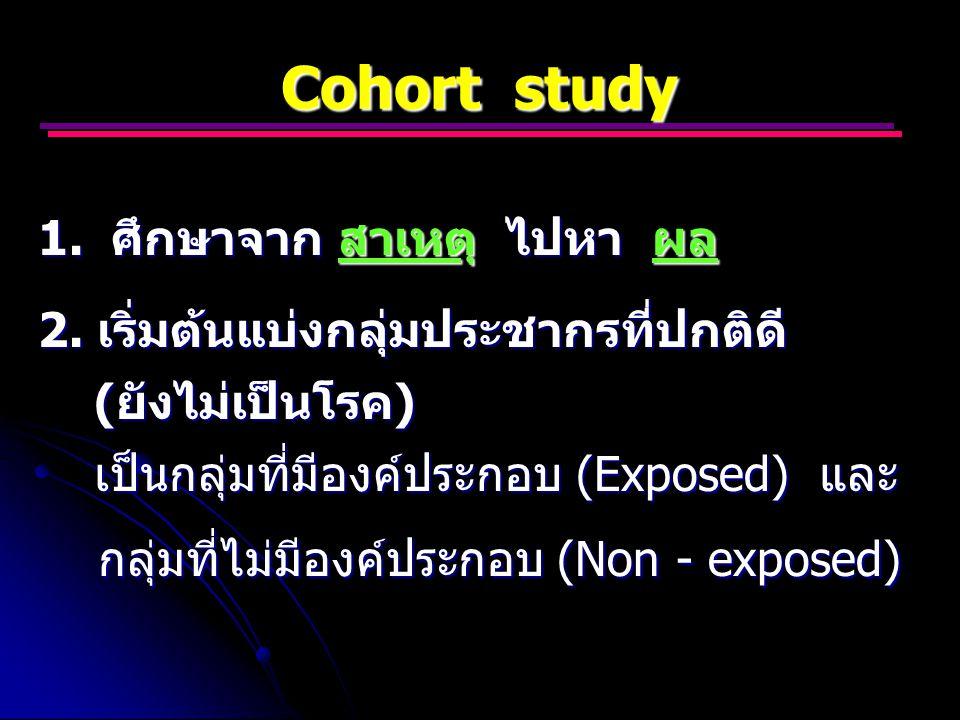 Cohort study 1. ศึกษาจาก สาเหตุ ไปหา ผล