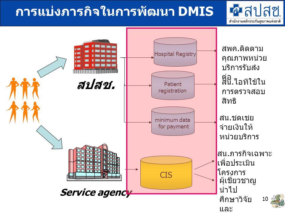 การแบ่งภารกิจในการพัฒนา DMIS