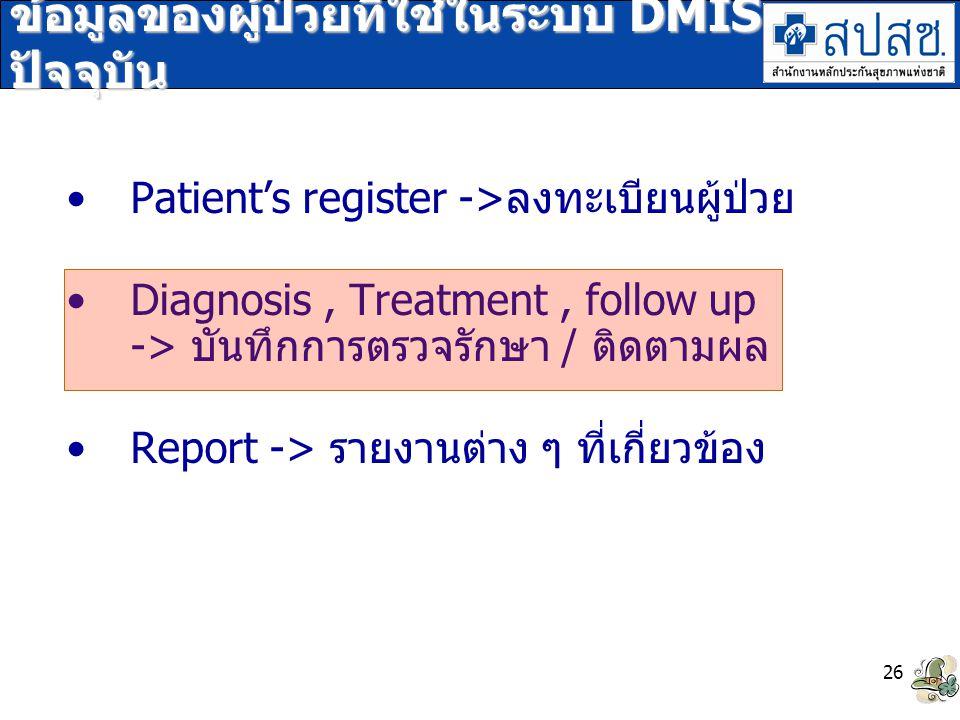 ข้อมูลของผู้ป่วยที่ใช้ในระบบ DMIS ปัจจุบัน