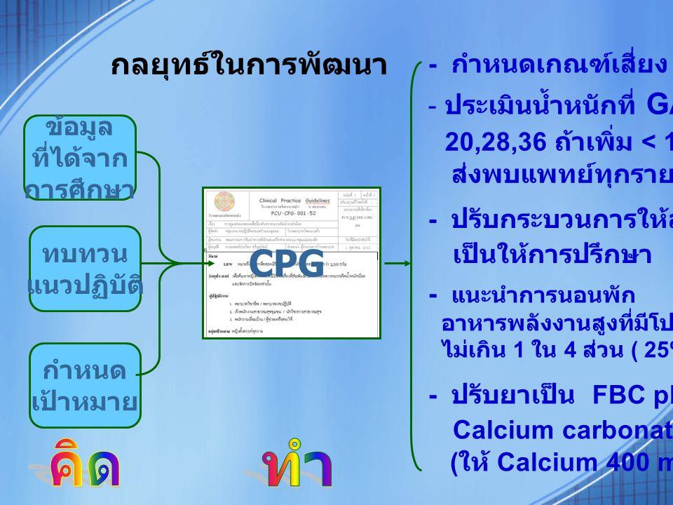 CPG คิด ทำ กลยุทธ์ในการพัฒนา 20,28,36 ถ้าเพิ่ม < 1 กก.ต่อเดือน