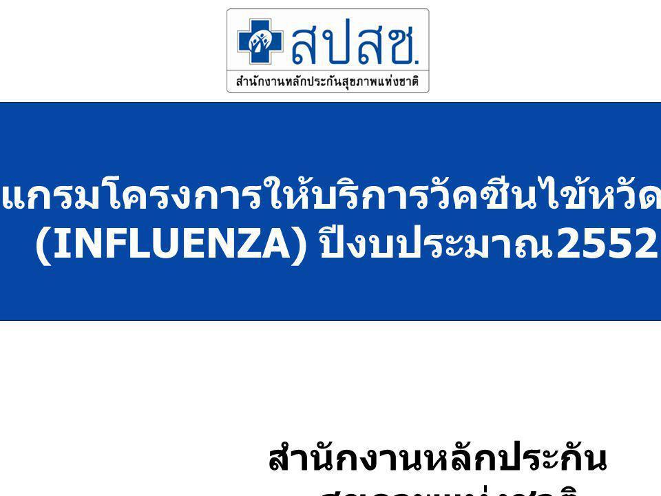 โปรแกรมโครงการให้บริการวัคซีนไข้หวัดใหญ่ (INFLUENZA) ปีงบประมาณ2552