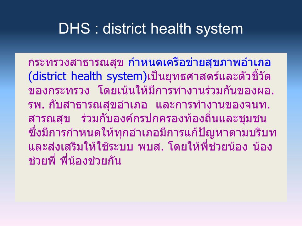 DHS : district health system