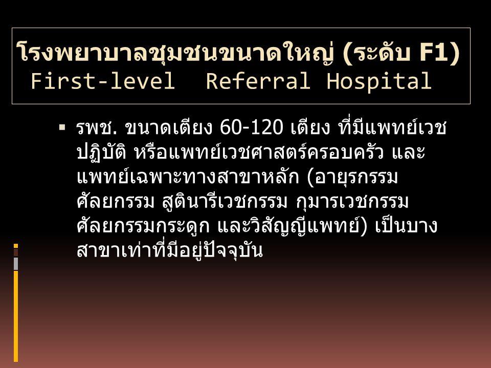 โรงพยาบาลชุมชนขนาดใหญ่ (ระดับ F1) First-level Referral Hospital
