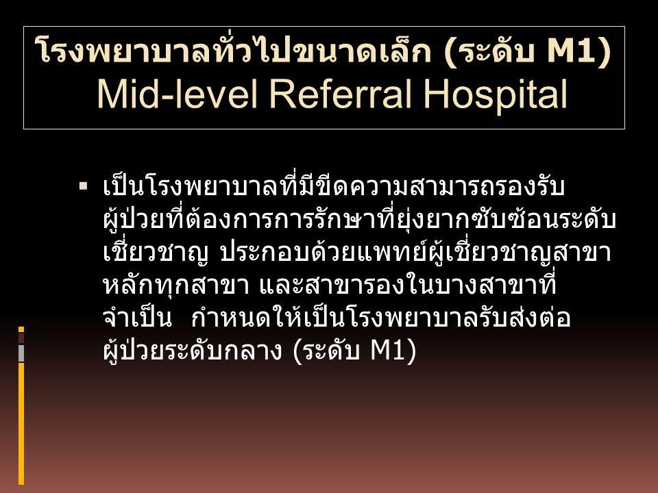 โรงพยาบาลทั่วไปขนาดเล็ก (ระดับ M1) Mid-level Referral Hospital