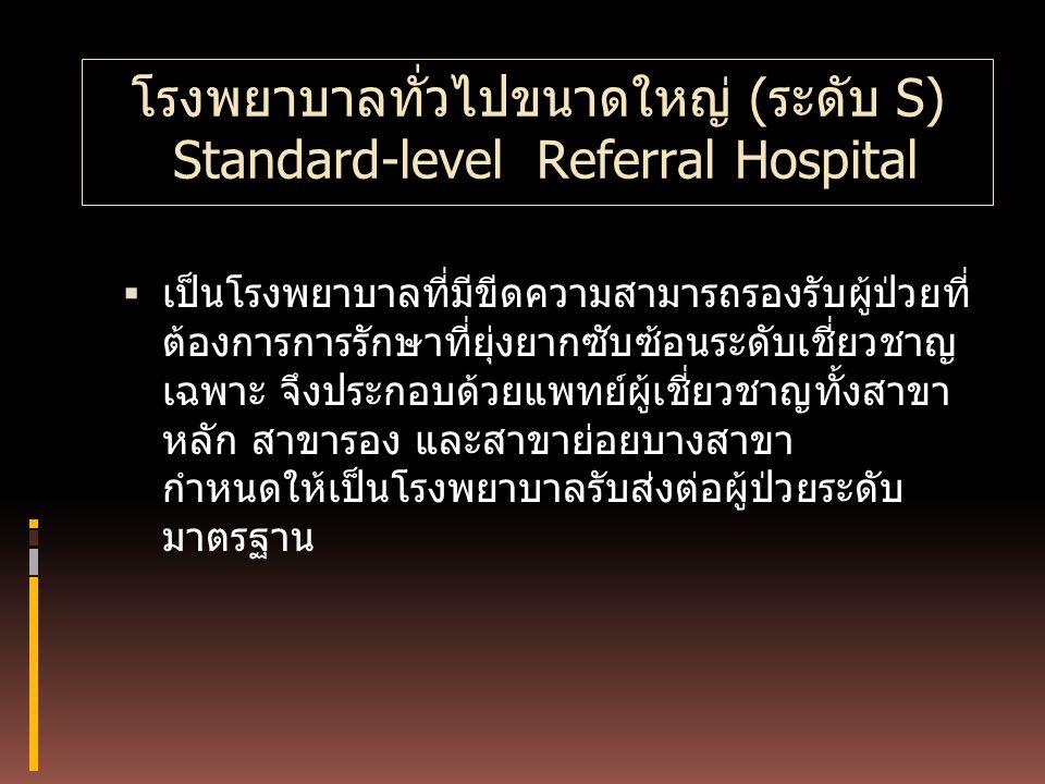 โรงพยาบาลทั่วไปขนาดใหญ่ (ระดับ S) Standard-level Referral Hospital