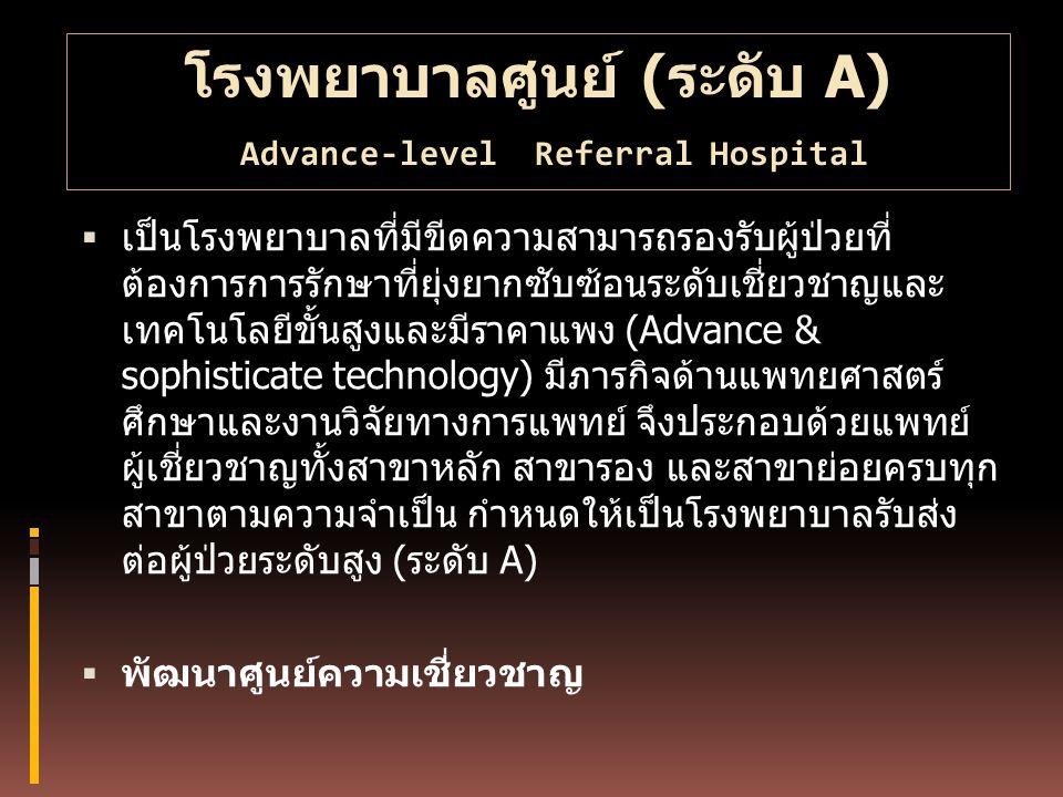 โรงพยาบาลศูนย์ (ระดับ A) Advance-level Referral Hospital