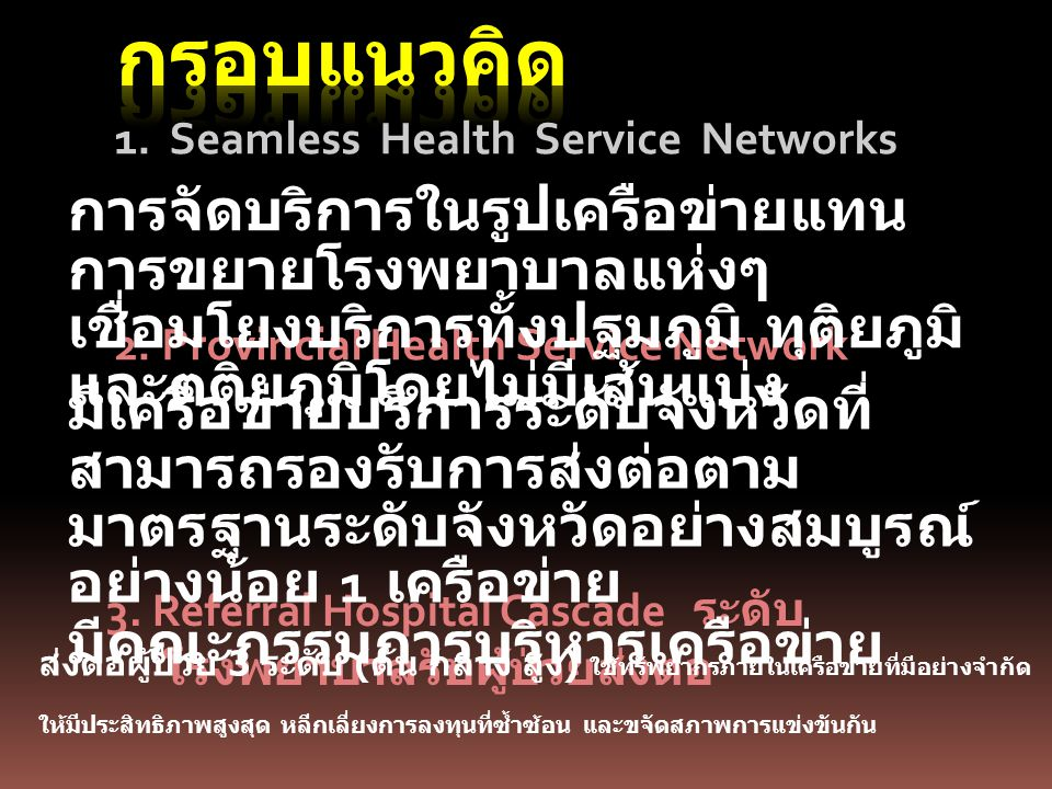 กรอบแนวคิด 1. Seamless Health Service Networks.
