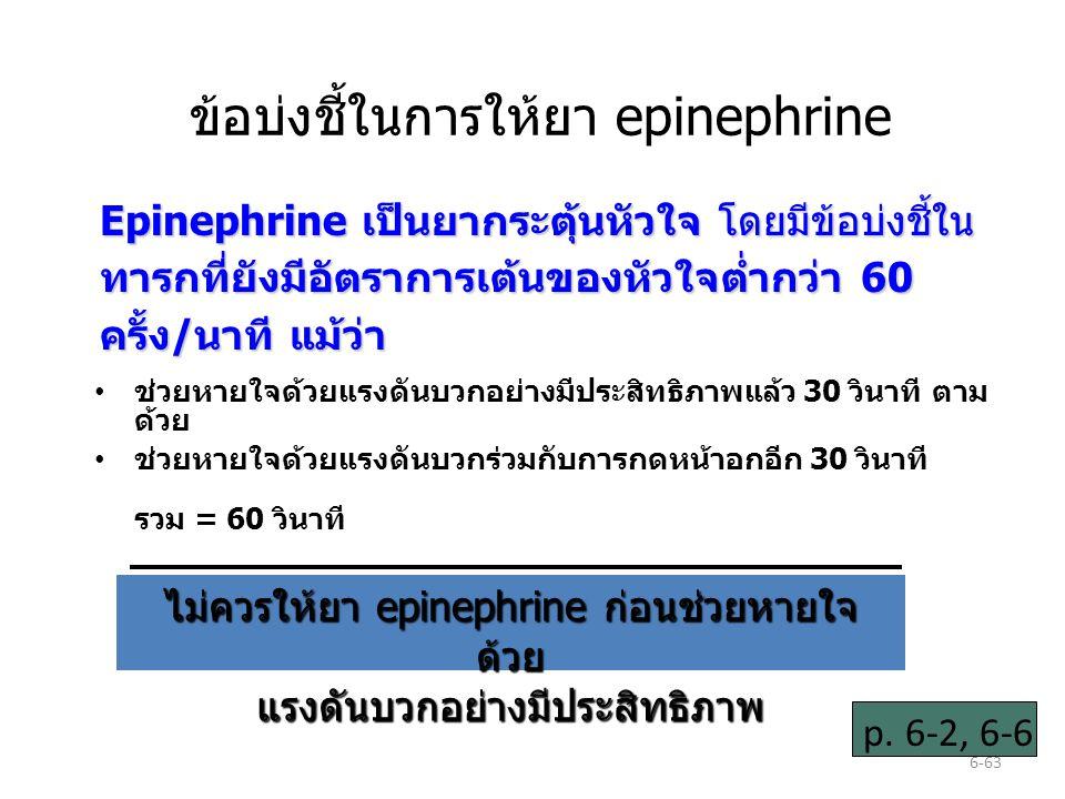ข้อบ่งชี้ในการให้ยา epinephrine