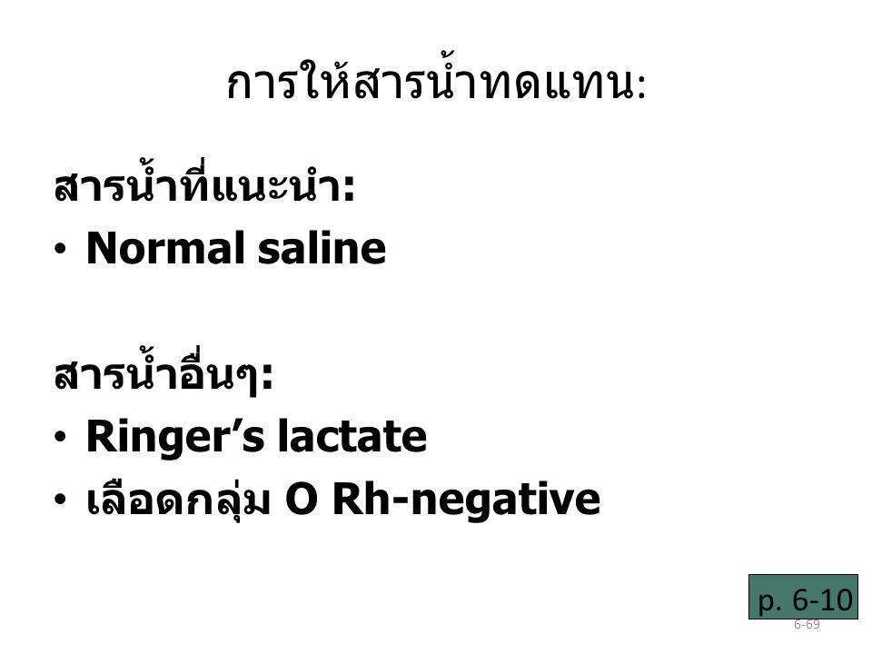 การให้สารน้ำทดแทน: สารน้ำที่แนะนำ: Normal saline สารน้ำอื่นๆ: