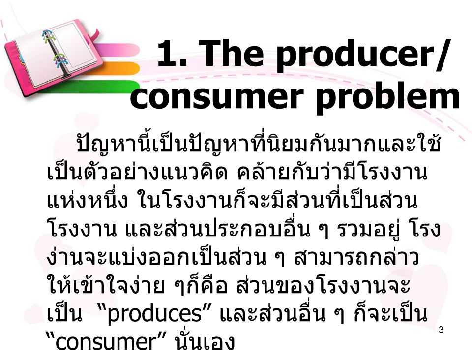 1. The producer/ consumer problem