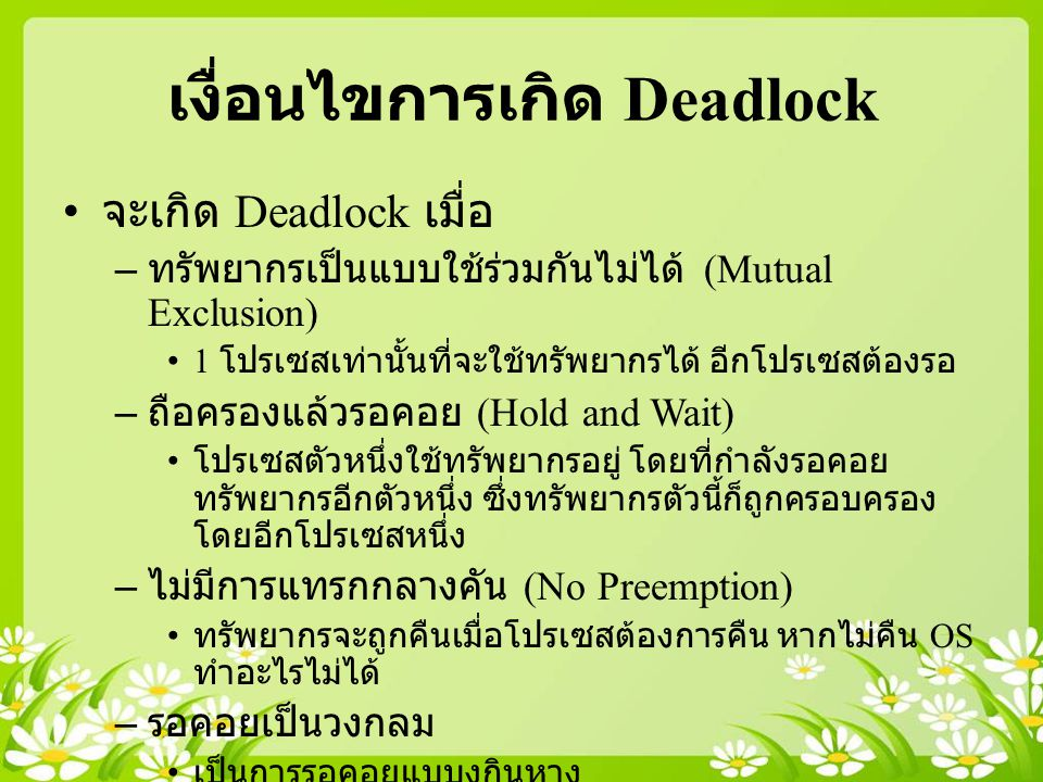 เงื่อนไขการเกิด Deadlock