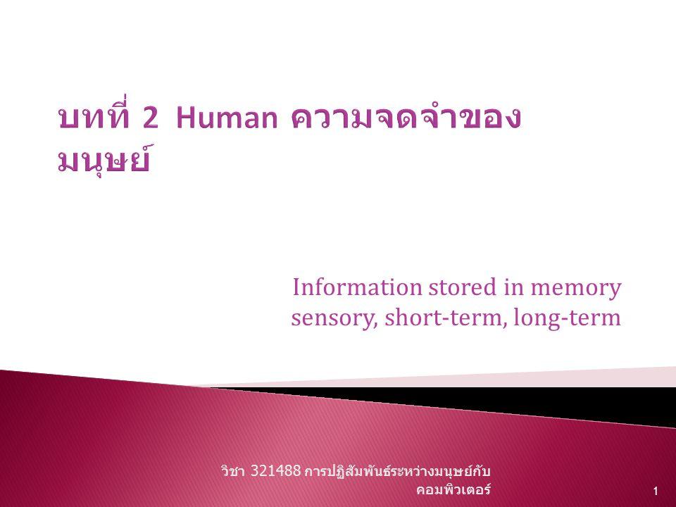 บทที่ 2 Human ความจดจำของมนุษย์