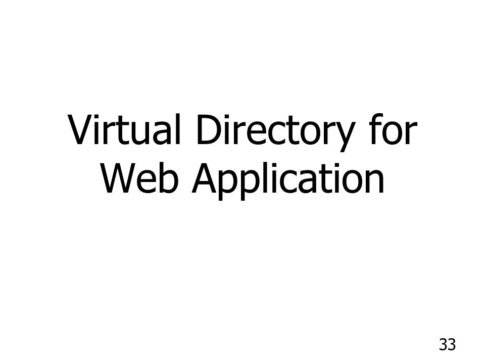 Virtual Directory for Web Application