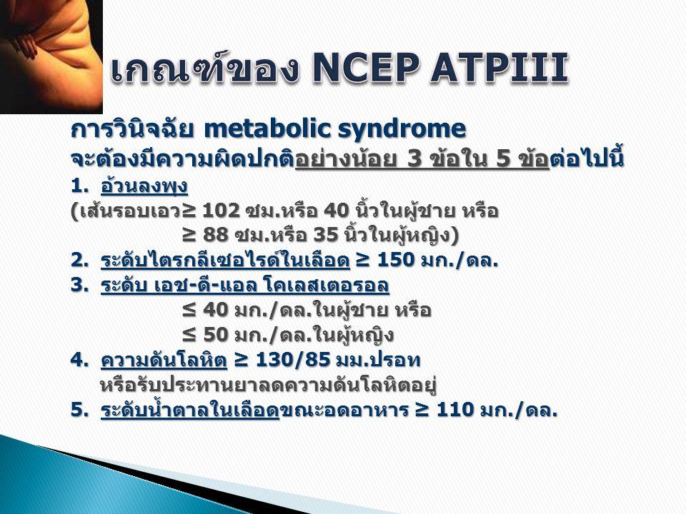 เกณฑ์ของ NCEP ATPIII การวินิจฉัย metabolic syndrome