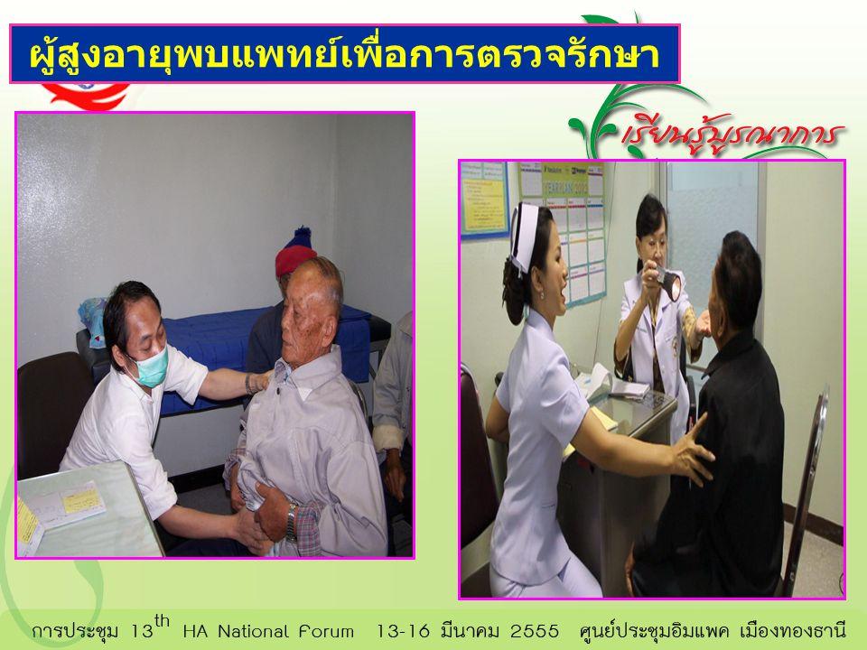 ผู้สูงอายุพบแพทย์เพื่อการตรวจรักษา