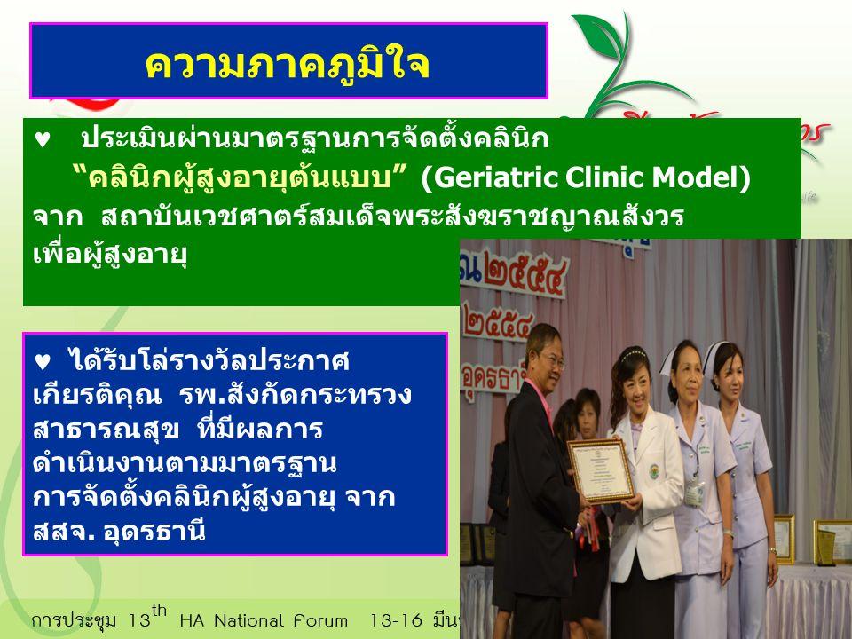 คลินิกผู้สูงอายุต้นแบบ (Geriatric Clinic Model)