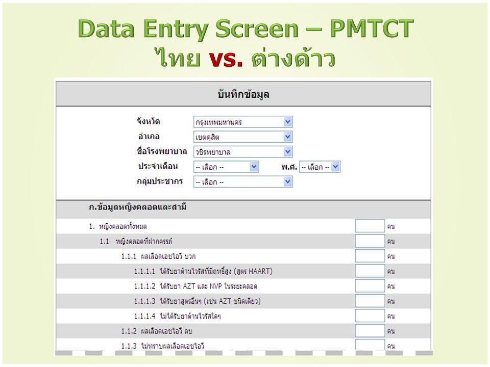 Data Entry Screen – PMTCT ไทย vs. ต่างด้าว
