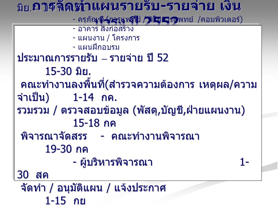 การจัดทำแผนรายรับ-รายจ่าย เงินบำรุง ปี 2552