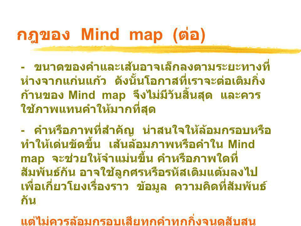 กฎของ Mind map (ต่อ)