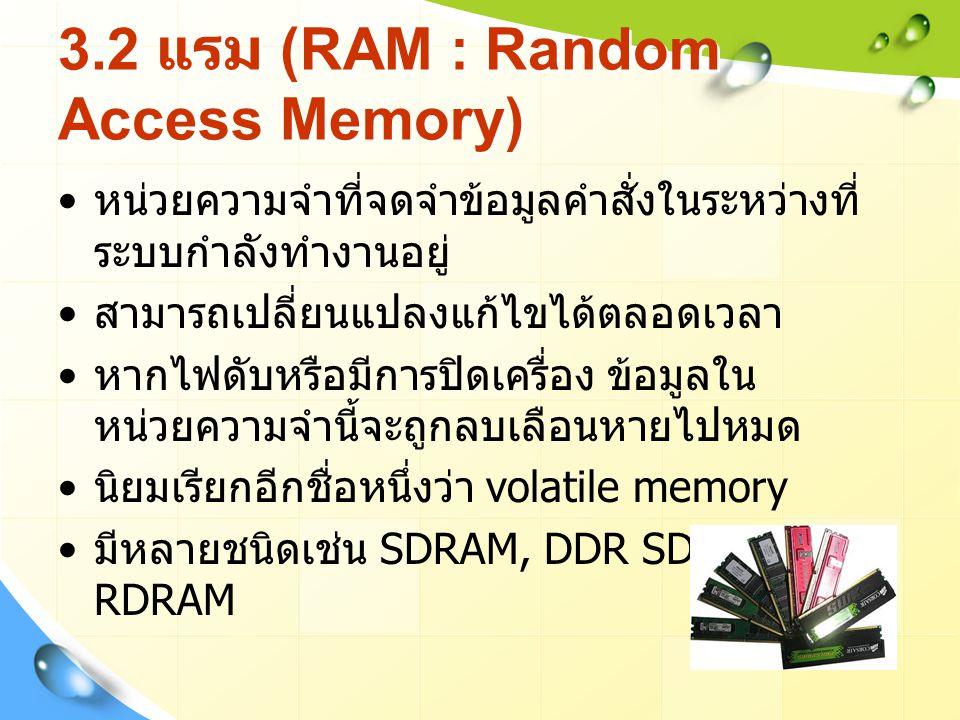 3.2 แรม (RAM : Random Access Memory)