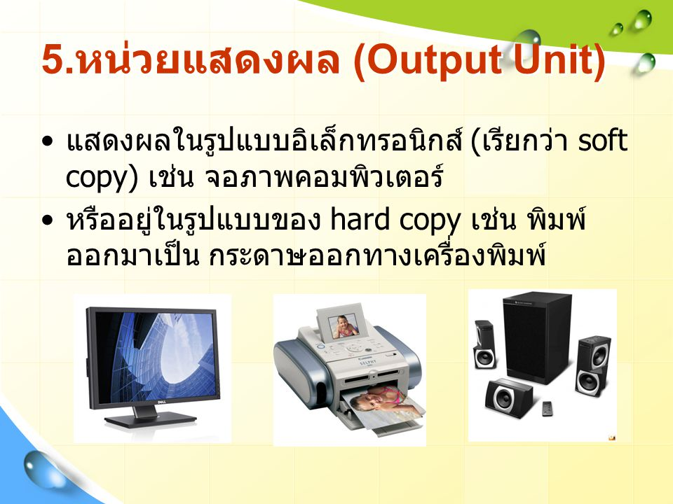 5.หน่วยแสดงผล (Output Unit)