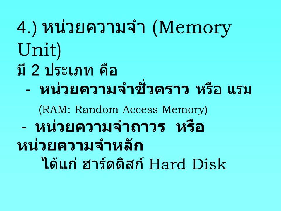 4.) หน่วยความจำ (Memory Unit) มี 2 ประเภท คือ - หน่วยความจำชั่วคราว หรือ แรม (RAM: Random Access Memory) - หน่วยความจำถาวร หรือ หน่วยความจำหลัก ได้แก่ ฮาร์ดดิสก์ Hard Disk