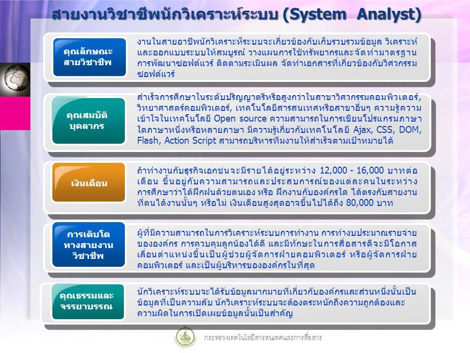 สายงานวิชาชีพนักวิเคราะห์ระบบ (System Analyst)