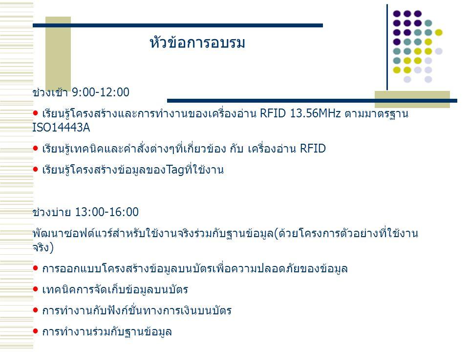 หัวข้อการอบรม ช่วงเช้า 9:00-12:00