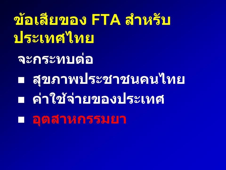 ข้อเสียของ FTA สำหรับประเทศไทย