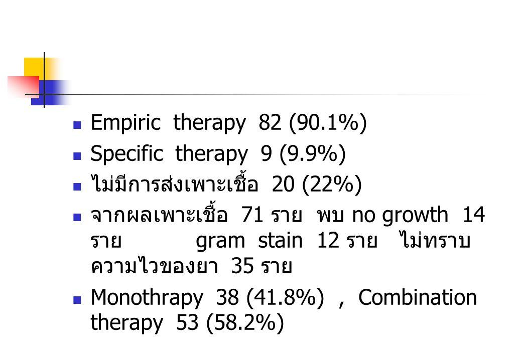 Empiric therapy 82 (90.1%) Specific therapy 9 (9.9%) ไม่มีการส่งเพาะเชื้อ 20 (22%)