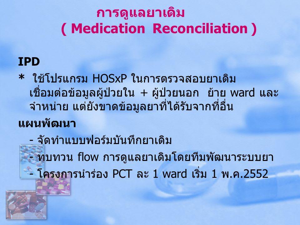 การดูแลยาเดิม ( Medication Reconciliation )