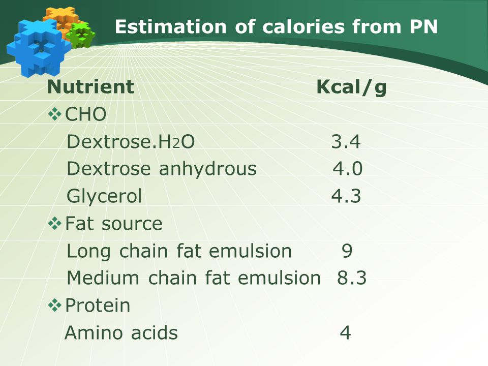 Estimation of calories from PN