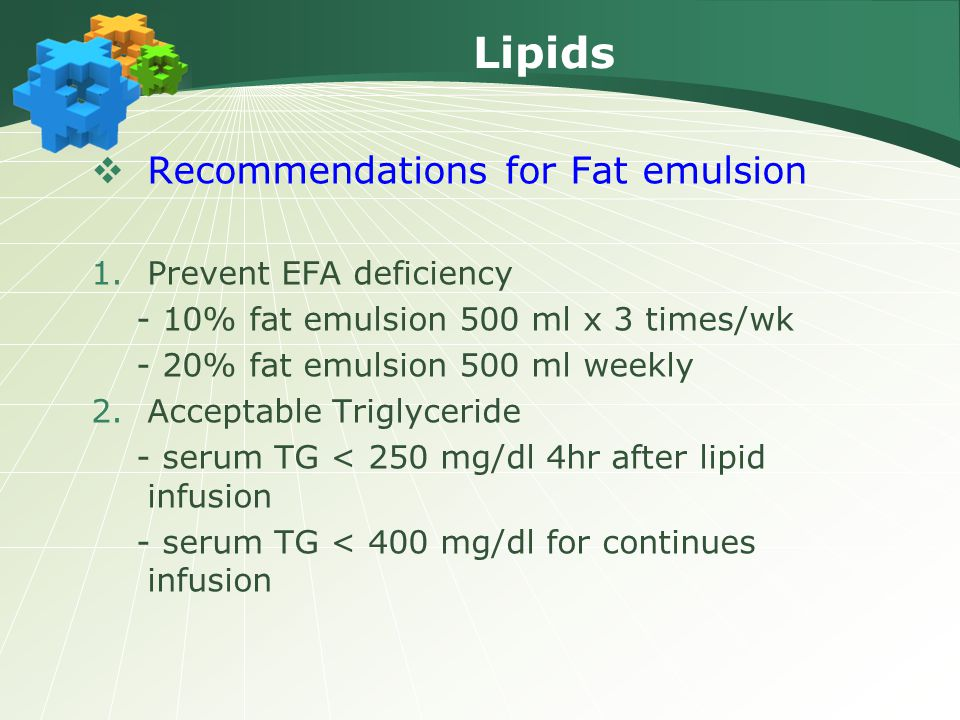 Lipids Recommendations for Fat emulsion Prevent EFA deficiency