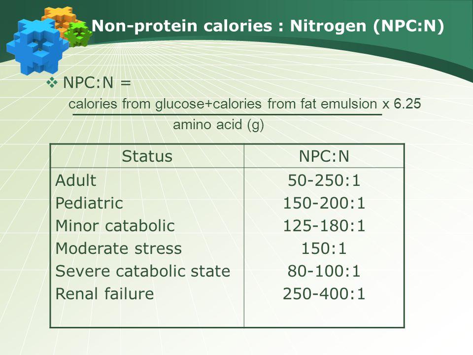 Non-protein calories : Nitrogen (NPC:N)
