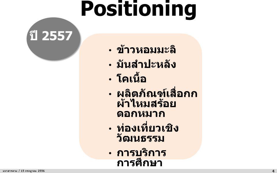 Positioning ปี 2557 ข้าวหอมมะลิ มันสำปะหลัง โคเนื้อ