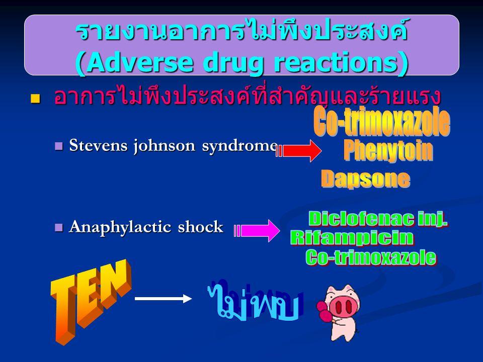 รายงานอาการไม่พึงประสงค์ (Adverse drug reactions)