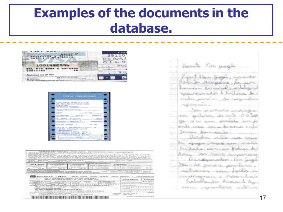 Examples of the documents in the database.